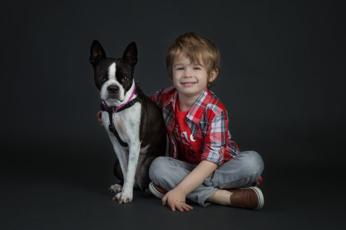 Boy & Boston Terrier