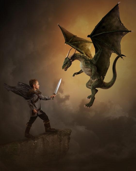 Denton Texas Child Photographer, Photo Manipulation, Texas child Photographer, Boy Dragon Slayer, Dragon