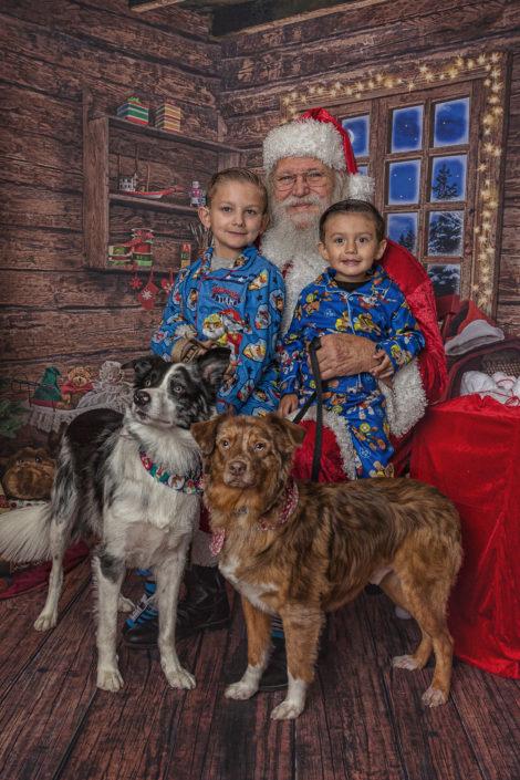 Boys & Dogs with Santa