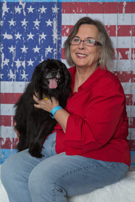 Denton Texas Pet Photographer, Dog & Owner Portrait, Denton Texas Photographer, Denton Texas Photography Studio, Cute Black Dog, Patriotic Pet Photo